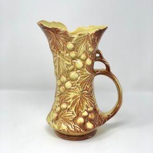 Vintage McCoy Grape Leaves Art Vase Pitcher Signed